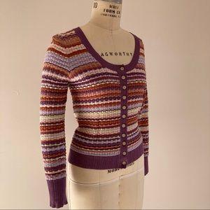 KATE SPADE Purple Texture Scoop Neck Cardigan
